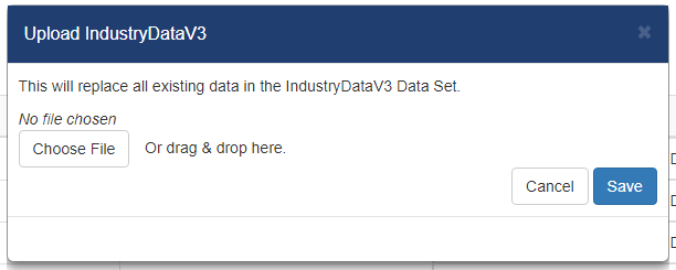 Shows the pop up that appears after selecting upload in the replace data column.