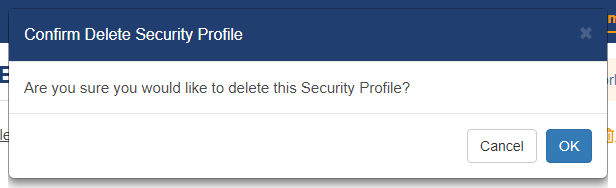 Shows the confirmation window when deleting a security profile