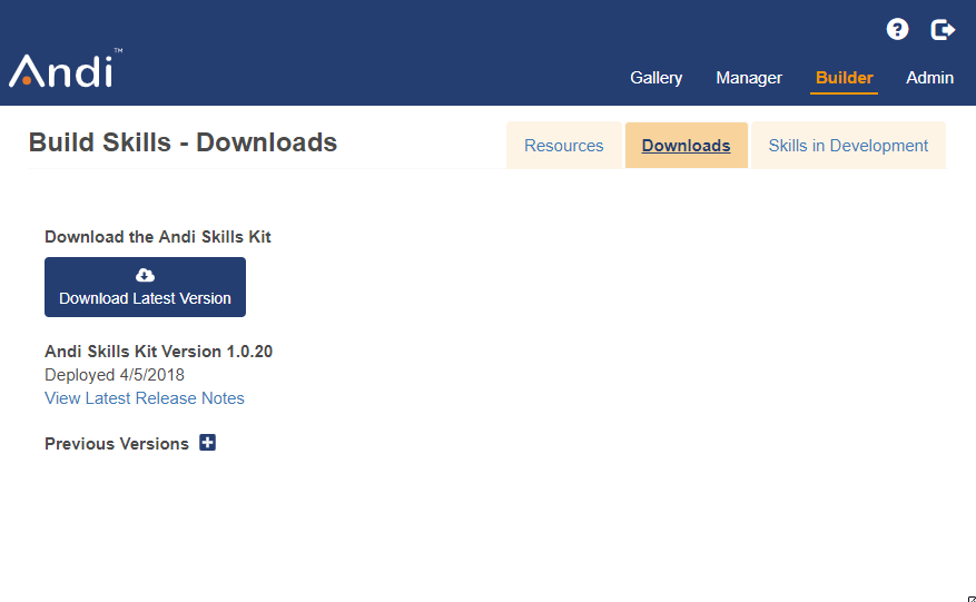 This shows the downloads tab in the Builder