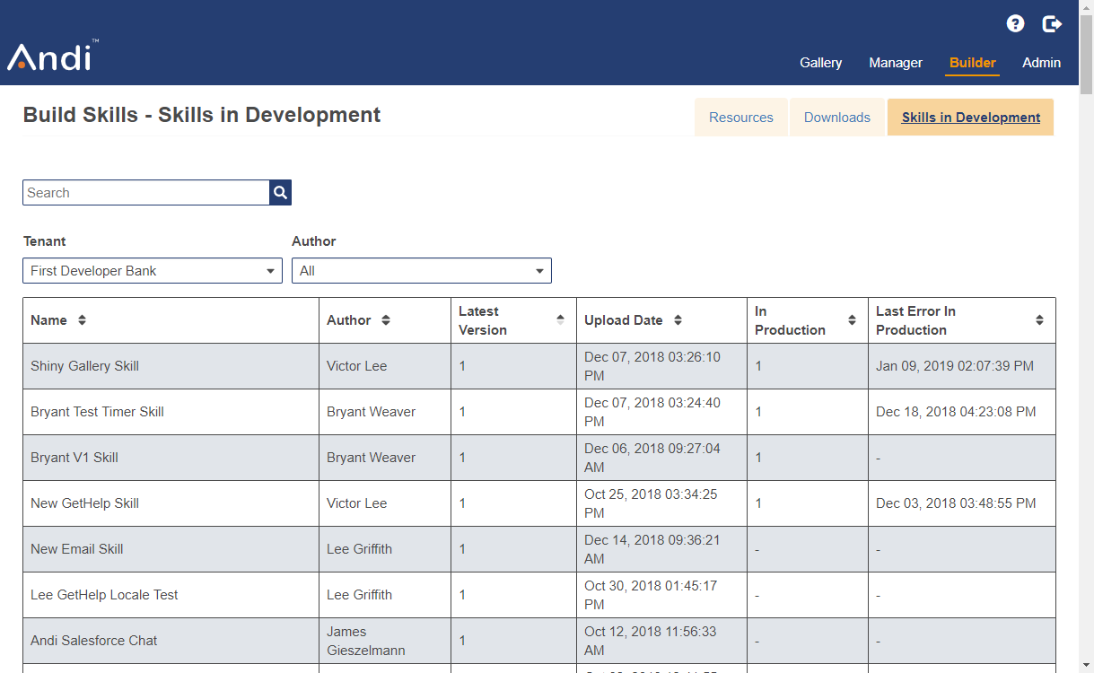 This shows the skills in development tab in the Builder