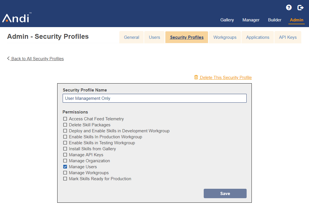 Shows an existing security profile being modified