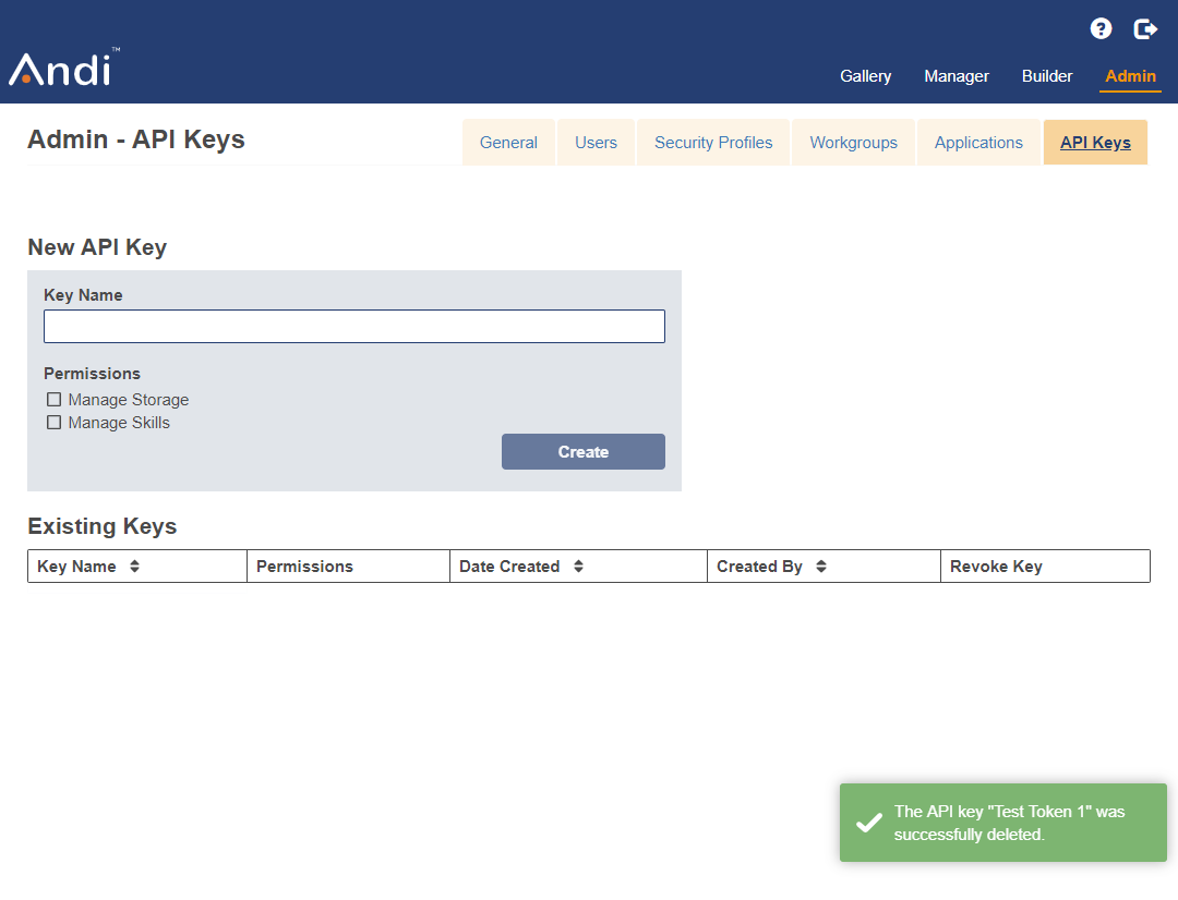 Shows that a successfully revoked key does not appear in the existing keys table