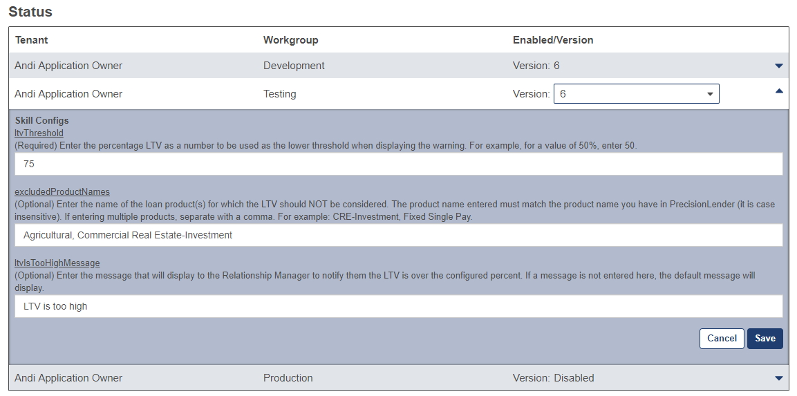 Shows the skill configurations section on the skill details page